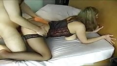 sexy chick in corset fucked from behind