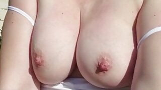 Stepmom flashes outside in public
