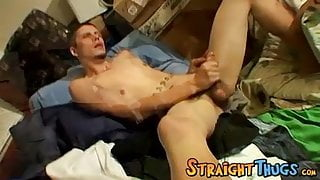 Horny Bentley jacking out a spunky cum load out of his balls