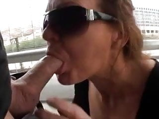 Young woman sucking cock Older woman suck big dick outdoor and get facial