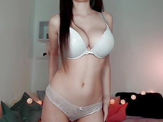 White girls boobs - Juicy big boobs covered by white bra