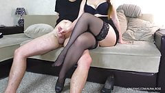 School Teacher Handjob on her legs in Stockings