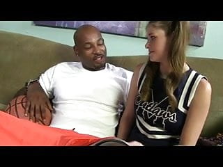 Shaved cheerleaders White cheerleader takes the black cock