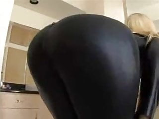 Transsexual catsuit - Blond in black catsuit