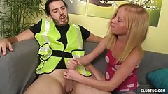 Topless Teen Jerks Off The Technician