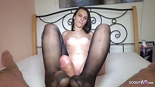 Young Neigbour Girl in POV Nylon Foot and Blowjob for old Guy, German