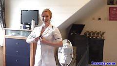 English mature nurses share cock in trio