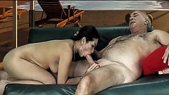 Latin Silver old man with a horny bitch
