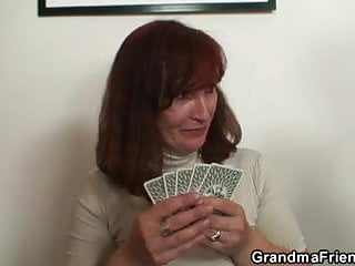 Woman loses at strip poker Granny loses poker and swallows two cocks