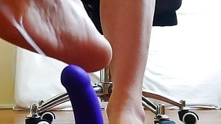 Twink practices his Messy Footjob on a dildo