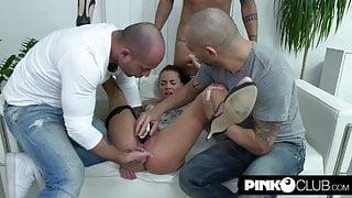 Three huge cocks for double penetration – Silvia Dellai