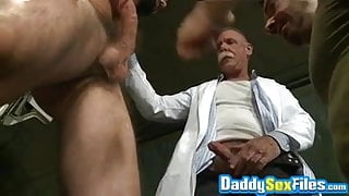 Military hunk Tom Nero threesome pounding army fetish daddy