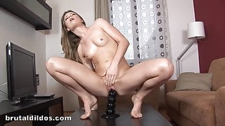 Many squirting orgasms with massive brutal dildo