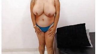 Latin granny big tits enjoys to fucks dildo on webcam