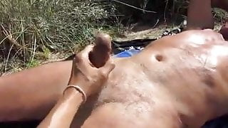 Greandpa get hand on the beach - delicious cum shot