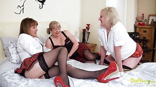 OldNannY, Lesbian Mature Pussy Eating Threesome