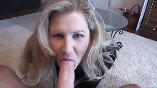 Sexy mature blonde aucks and milks a huge white cock