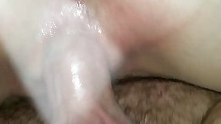 Hubby creampies wife while friend fingers her ass!