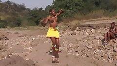 African Zulu girls topless dancing