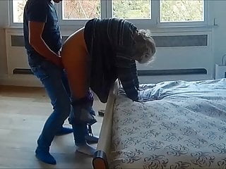 My wife likes fucking my dog - My wife fucked with her pants down on hidden cam
