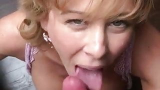 Sexy wife is making blowjob to her husband and eats cum
