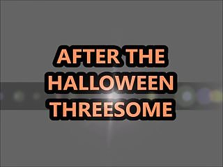 Quits anal after 17 seconds - After the halloween 3-some sloppy seconds