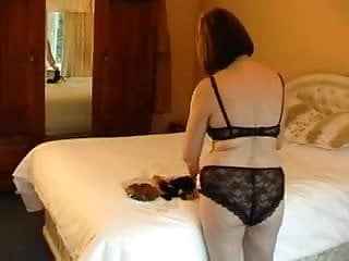 Sexy underthings Curvy mature in her lacy underthings getting dressed
