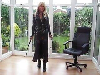 Leather coat from the xxx movie - Milf in pvc coat leather lace up basque