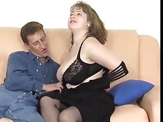 Milf in stockings fucked - Busty german milf in stockings fucked on the sofa