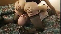 Blonde sex bomb riding her BFs dick