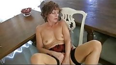Mature Milf  in Seamed Stockings Strips and Fingers