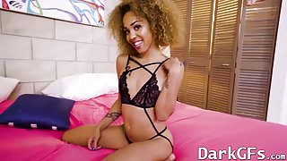 Small tits ebony Xianna Hill gets pussy hammered and jizzed