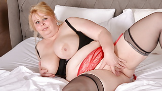 Mature BBW Adriana strips and fingers