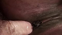 Black babe gets some good big white dick