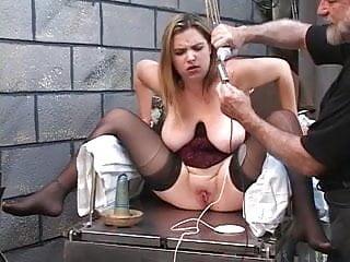 Fetish bondage corset Dd bondaged blonde in corset must mount electric dildo