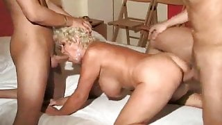 mature had pleasure of riding two hard dicks