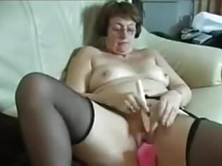 Adult business toy Grandma masturbating with adult toys