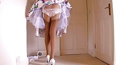 Retro Dress Lace Panties With Tan Stockings