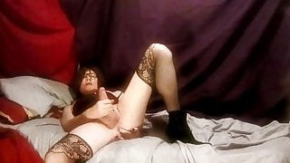Masturbating and cum tasting cross-dresser Katie