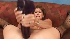 Busty brunette Felony cumming on massive brutal dildos