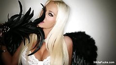 hot girls with wings tease then fuck each other