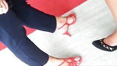 Friend's feet un red heels 2