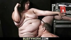 Fatty rides cock after pussy licking
