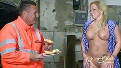 horny slut fucked at the garage