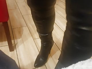 How to strip boot polish Boots over the knee and a cigarette