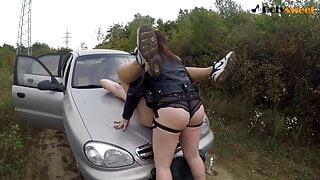 Public Pegging Outdoors, 2 Cumshots for Russian Mistress