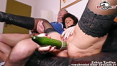 German old mature Housewife fuck with cucumber a saggy tits