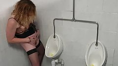 Essex Girl Lisa Pissing at the Urinal. British Piss Pussy