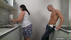 Fat babe is hot when cooking and fucking