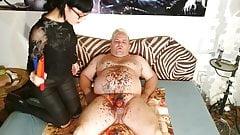 Slim goth domina wax torture her slave's cock & stomach pt2